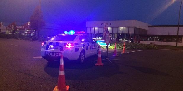 A police cordon in Hamilton's Te Rapa Rd after last night's crash. Photo / Nikki Preston