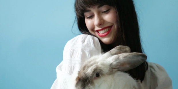Kimbra features in the new PETA campaign to raise awareness about angora bunny farms. Photo / Supplied