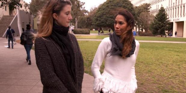 PJ Madam, right, spoke to three victims of sexual assault on campus for her Sunday Night investigation. Photo / Channel 7
