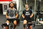 Manu Vatuvei and Kieran Foran train at the Warriors gym. Photo / Instagram