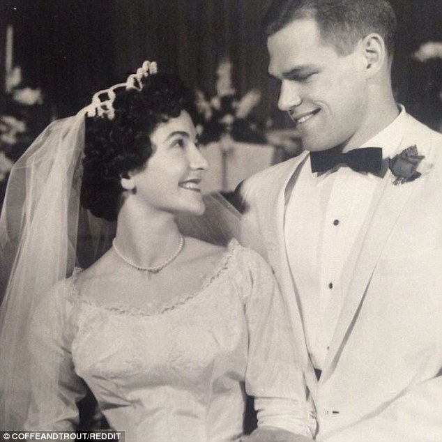 A photograph of 75-year-old man from Seattle on his wedding day in 1961, pictured, has people convinced that he is the doppelganger of actor Matt Damon, 45.