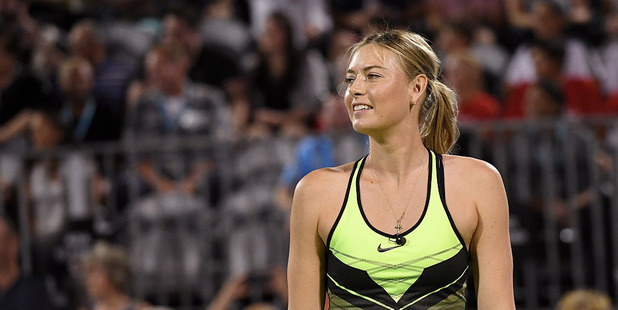Tennis player Maria Sharapova smiles during the World TeamTennis Smash Hits charity tennis event benefiting the Elton John AIDS Foundation at Caesars Palace. Photo / Getty