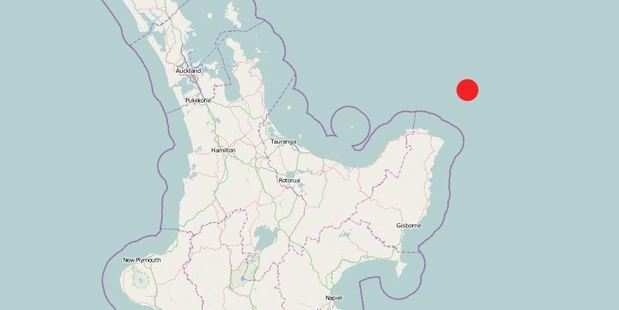 GeoNet indicates the location of the 5.8 magnitude quake off East Cape.
