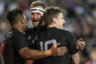 Julian Savea, Kieran Read and Beauden Barrett celebrate an All Blacks try. Photo / Jason Oxenham