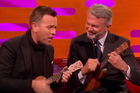 Ewan McGregor and Sam Neill play the ukulele on Graham Norton. Photo / Youtube