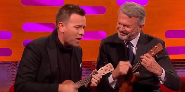 Ewan McGregor and Sam Neill play the ukulele on Graham Norton. Photo / Youtube