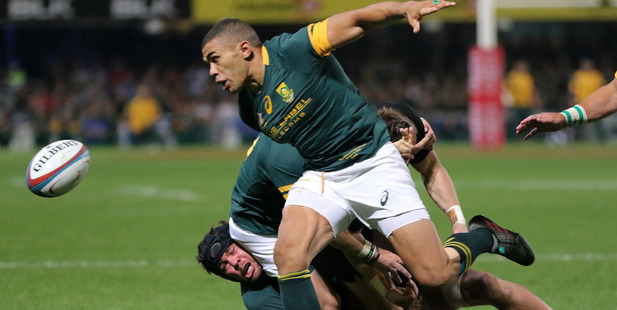 South African winger Bryan Habana chases the ball during the Springboks' defeat to the All Blacks. Photosport