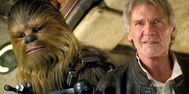 Peter Mayhew as Chewbacca, left, and Harrison Ford as Han Solo were rehearsing for a scene in Star Wars: The Force Awakens when Ford was injured.