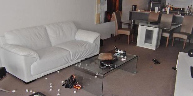 Police photographs of Gable Tostee's apartment and the ornamental rocks thrown at Tostee on the floor. Photo / Queensland Supreme Court
