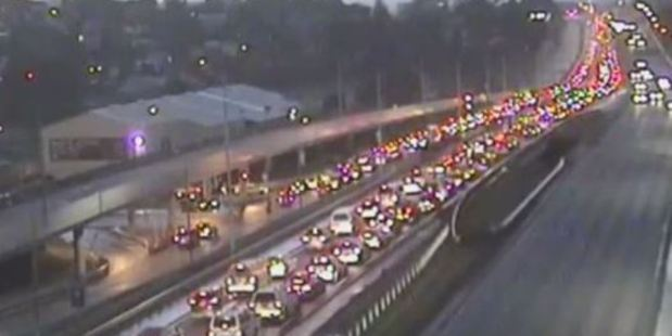 Traffic is backed up on Auckland's Northern Motorway this morning. Photo / NZTA