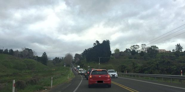 Traffic is building up on State Highway 2 following a caravan crash. Photo/supplied