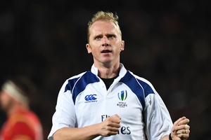 Referee Wayne Barnes in action during the first test of the Steinlager Series between the All Blacks and Wales at Eden Park earlier this year. Photo / Photosport