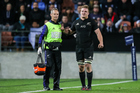 All Blacks flanker Sam Cane gets medical attention and leaves the field of play after sustaining an injury against Argentina. Photo / Photosport