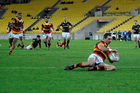 Waikato's Stephen Donald dots down for a game winning try against Wellington. Photo / Photosport