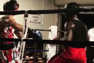 Ahmad Jones (right) prepares to hit his already unconscious opponent. Photo / Instagram