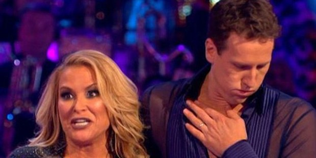 Brendan Cole seen in discomfort on Strictly Come Dancing. Photo / BBC