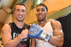 Wladimir Klitschko (left) and Anthony Joshua pictured together in 2014. Photo / Photosport