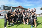 HAPPINESS IS .... Hawke's Bay senior men lifting the Chapple Cup in Napier yesterday. PHOTO/Paul Taylor