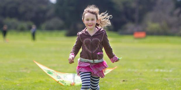 Harper Buchanan, 5, at the kite day.  Photo/Ben Fraser