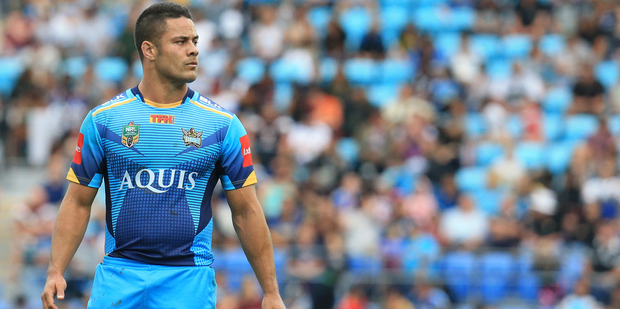 Jarryd Hayne in action for the Gold Coast Titans earlier this year. Photo / Photosport