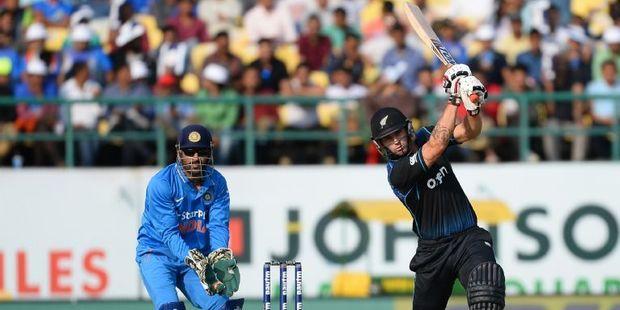 Loading Batsman Doug Bracewell plays a shot. Photo / AFP