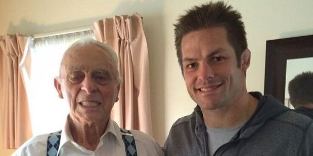 Wally Argus, pictured with Richie McCaw last year. Photo / Facebook