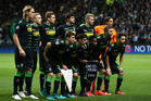 Borussia Moenchengladbach players stand for a team photo ahead of their clash against Celtic. Photo / AP