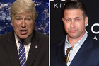 Alec Baldwin as Donald Trump on SNL and his brother Stephen Baldwin. Photo / SNL, Getty