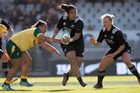 New Zealand first-five Victoria Subritzky-Nafatali in action during the 67-3 win over Australia today. Photo / Brett Phibbs - NZ Herald.