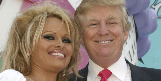 Pam Anderson and Donald J. Trump during his 2005 Quarter Million Dollar Birthday Giveaway with Special Guest Pamela Anderson at Trump Taj Mahal in Atlantic City, New Jersey. Photo / Getty
