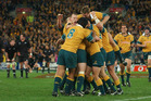 The Wallabies celebrate last winning the Bledisloe Cup, way back in 2002. Photo / Getty