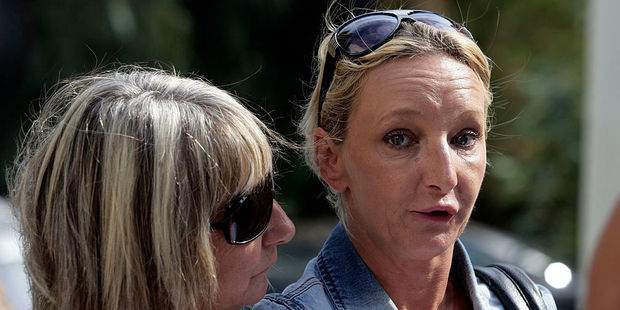 Kerry Grist, Ben's mother, and her mother Christine Needham, left, make a statement to the media. Photo / Getty