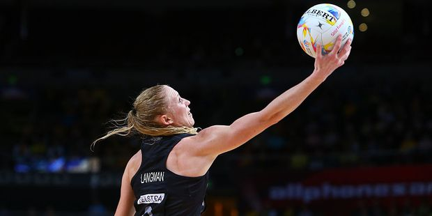 Laura Langman in action for the Silver Ferns. Photo / Getty