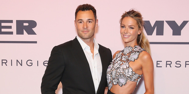 Jake Wall and Jennifer Hawkins pose on the red carpet during the Myer Spring 16 Launch at Hordern Pavilion on August 23, 2016 in Sydney, Australia. Photo / Getty