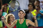 Caroline Wozniacki celebrates after defeating Heather Watson in Hong Kong. Photo / Getty Images
