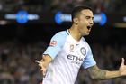 Tim Cahill of Melbourne City celebrates scoring a screamer of a goal during last night's 4-1 win in their A-League derby against the Melbourne Victory. Photo / Getty Images