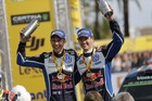 Sebastien Ogier and Julien Ingrassia celebrate their World Rally Championship title. Photo / Getty Images