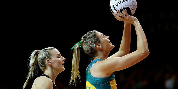 Loading Caitlin Bassett of Australia attempts a shot at goal during the Constellation Cup International Test match between the New Zealand Sliver Ferns and the Australian Diamonds. Photo / Getty Images