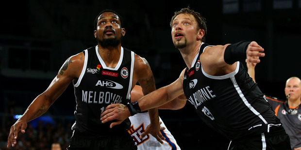 Ramone Moore and David Anderson of Melbourne United during the win over Brisbane. Photo / Getty Images