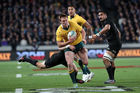 Dane Haylett-Petty was ruled to have obstructed Julian Savea, costing Australia a try. Photo / Getty Images