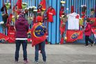 Munster Rugby fans place tributes outside Thomond Park after the death of head coach Anthony Foley, in Limerick, Ireland. Photo / AP
