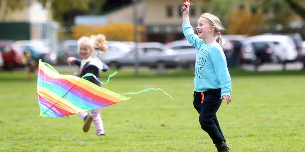 Loading Arwen Barker, 7, and sister  Leah Barker, 5, have fun at Kuirau Park. PHOTO/BEN FRASER