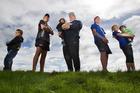 The Hudson clan, from left Ricoh, 5, Jordan, 15, Teina-Kore, 2, Dad Steve, Kiani 16, Grace, 10, and Ariki, 1. Photo/ Ben Fraser.