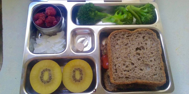 Loading Claire Deeks lunch box suggestion for healthy kids school lunch. picture / supplied
