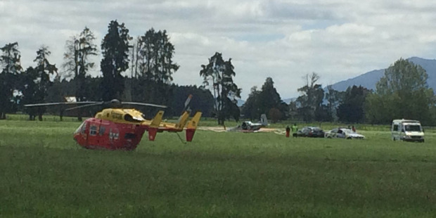 The Westpac Helicopter was called out to the crash at Matamata Aerodrome. Photo / Alan Gibson