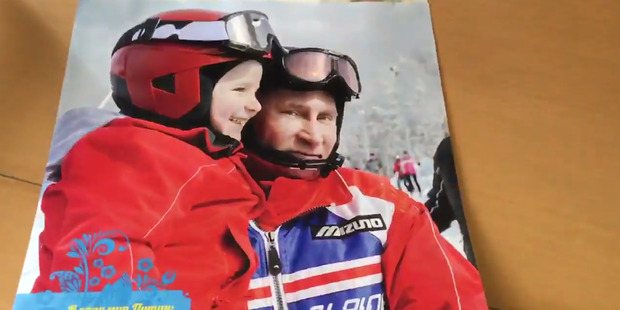 Putin hits the slopes. Photo / via Twitter