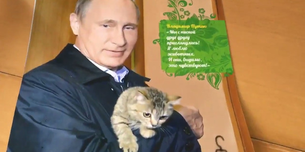Russian Prime Minister Vladimir Putin shows a softer side. Photo / via Twitter