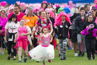 Eliza Chapman, 8, was out the front of a sea of pink as people started the Rotorua Pink Walk. PHOTO/BEN FRASER