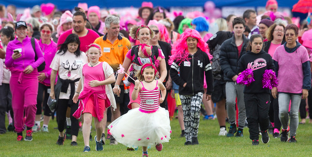 Loading Eliza Chapman, 8, was out the front of a sea of pink as people started the Rotorua Pink Walk. PHOTO/BEN FRASER