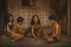 Gottfried Lindauer, Maori children playing knucklebones - a game they call koruru or ruru.